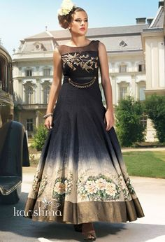 Gorgeous Black and Beige Anarkali Suit