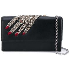 Alexander McQueen embellished hand clutch ($1,340) ❤ liked on Polyvore featuring bags, handbags, clutches, black, chain strap handbag, embellished handbags, alexander mcqueen, chain handle handbags and alexander mcqueen purse