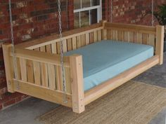 Loon Peak Teague Cedar Victorian Style Hanging Daybed Swing Finish: Stain & Water Sealant, Size: H x W x D Ideas Cabaña, Yard Ideas, Decor Ideas, Porch Swing With Stand, Hanging Beds, Hanging Rope, King Size Mattress, Canopy Outdoor, Dream Homes