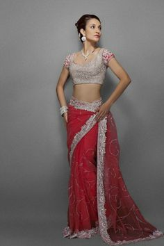 Coral pink net sari has intricate silver crystal embroidery border and all over jaal. Blouse is fully encrusted with crystals & sleeves border work. Indian Bridal Fashion, Indian Bridal Wear, Indian Wear, Indian Style, Indian Ethnic, Saree Styles, Blouse Styles, Blouse Designs, Indian Dresses