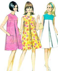 1960s Dress Pattern McCalls 8755 Mod Sleeveless | paneenjerez