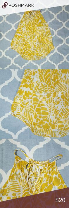 """Ann Taylor LOFT Large Petite Yellow/white Blouse Ann Taylor LOFT women's blouse.  Size large petite. Mustard yellow and white print. Sleeveless.  100% cotton. Used condition.  Length: 24""""  Chest: 17""""  B1124 &e Ann Taylor Tops Blouses"""