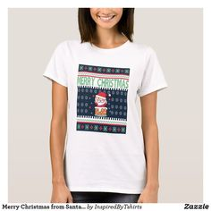 Merry Christmas from Santa Claus T-Shirt Christmas Card Holders, Wardrobe Staples, Keep It Cleaner, Fitness Models, Merry Christmas, Santa, T Shirts For Women, Casual, Fabric