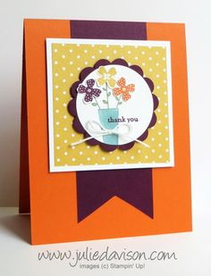 Stampin' Up! Pictogram Punches: Flower Thank You Card with In Colors: Blackberry Bliss, Hello Honey, and Tangelo Twist #stampinup www.juliedavison.com