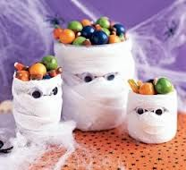 This is great for a Halloween party when you have bowls of food or candy out. What you need is toilet paper,white streamers, paper towels, or anything like white paper (you only need to use 1), a bowl or cup glue, and googly eyes.