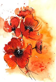 Abstract Watercolor Poppies Stock Illustration - Illustration of acrylic, design: 5951471 Watercolor Poppies, Pen And Watercolor, Red Poppies, Watercolor Background, Abstract Watercolor, Watercolor Paintings, Poppies Art, Poppy Flowers, Tattoo Watercolor