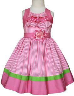 Girls Pink Zoe Striped Summer Easter Dress with Green Trim Little Girl Dresses, Little Girl Fashion, Kids Fashion, Girls Dresses, Summer Dresses, Pink Dresses, Trendy Fashion, Women's Fashion, Toddler Dress