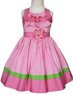 Las niñas de color rosa vestido de verano de rayas Zoe - Carrusel Wear