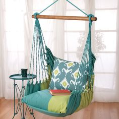 Early arrival at the office? Enjoy your morning tea or coffee here on the indoor hammock chair.