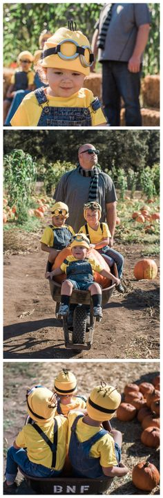 Super-Simple DIY Minion costumes (and Gru, too!). This family Halloween costume was pulled together in about an hour using stuff ordered from Amazon. Easy peasy!