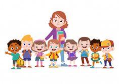 Teacher with kids school Premium Vector | Premium Vector #Freepik #vector #school #people #kids #children