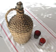 French verylarge wicker demijohn  bottle by FrenchMelody on Etsy, $63.00
