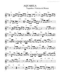 Página que contém a partitura da música Aquarela v.2 (Toquinho, Vinícius De Moraes). Keyboard Sheet Music, Flute Sheet Music, Song Sheet, Violin Music, Guitar Chords, Ukulele, Mundo Musical, Indie Movies, Music Theory