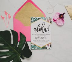 Tropical invitations pair well with monstera leaves! Featuring bright pink hues and gold, these are perfect for any beachy wedding or bridal shower.