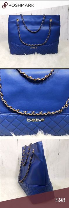 "New BEBE LOGO blue QUILTED TOTE bag purse New BEBE LOGO blue QUILTED TOTE   large bag handbag chain handles zipper closure    Everyday faux leather tote with quilted texture. Roomy, structured design holds all the essentials and more. Luxe chain handles.  2 Interior divided wall pocket   1 zip wall pocket.   BEBE Front logo.  Imported  Measurements (Approx)  Height: 13""  width: 15.5""  depth: 5""  handle drop: 8""   Zipper closure bebe Bags Totes"