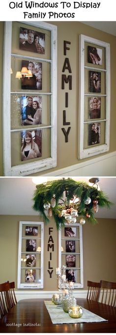 Have some old windows sitting in the garage that are classified as junk? Well think again. This really neat tutorial shows you how you can turn your junk into some very creative home decor. Old windows to display family photos who would have thought? Easy Home Decor, Cheap Home Decor, Home Decor Ideas, Homemade Home Decor, Homemade Crafts, Decoration Photo, Photo Wall Decor, Decoration Pictures, Display Family Photos