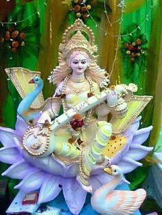 Maa Saraswati Ashtottara Shatanamavali Stotram in English Jai Maa Saraswati, Saraswati Murti, Saraswati Statue, Saraswati Goddess, Kali Goddess, Goddess Art, Saraswati Painting, Saraswati Photo, Durga Ji