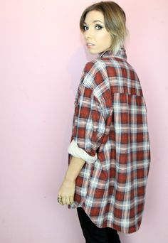 "Vintage 90s grunge check shirt, oversized boyfriend fit.  SIZE: Large, will fit 6-18 depending how you want it to fit. (our model is size 8 5'4"" for reference) CONDITION: Excellent. This item is vintage and signs of natural wear & age are to be expected. MEASUREMENTS: Chest: 50"" Full Length: 31"" MATERIAL: Cotton. One size. Can fit various sizes depending on your desired look e.g. oversized or fitted etc"