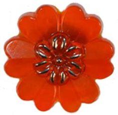 """7/8"""" Opaque Orange Glass Flower Button w/ Silver center (23mm)"""