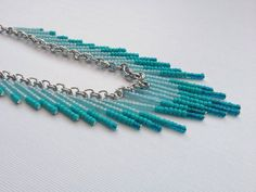 Beaded Ombre Bib Necklace by OliveTreeHandmade on Etsy $33