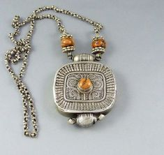 "Old Silver tibetan ""ga'u"" amulet box pendant, with a central coral bead, tibetan jewelry, buddhist amulet, ethnic and tribal necklace"