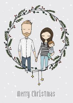 Custom family portrait Christmas card by Blanka Biernat