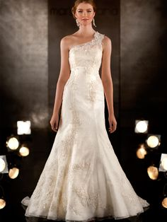 A-line Lace Embroidered Wedding Dress with Detachable Asymmetrical Lace Shoulder Strap