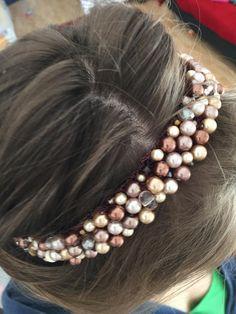 Headband Bijou de tête perles verre beige, maron, nude : Accessoires coiffure par fleurs-de-provence