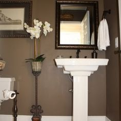 Sherwin Williams Tea Chest 6103; Valspar Roast Coffee; Behr Mocha Latte  This rich color is currently in both of our bathrooms. I love the dark color in a small space. It instantly made the rooms look bigger.