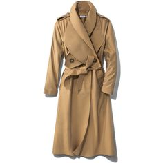 J.W. Anderson Double-Breasted Gabardine Trench Coat ($787) ❤ liked on Polyvore featuring outerwear, coats, brown, gabardine trench coat, gabardine coat, brown double breasted coat, tie belt and brown coat