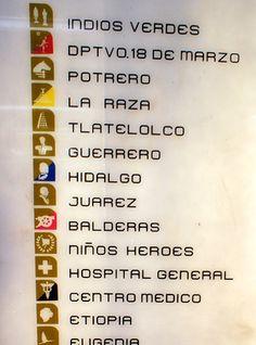これはメキシコシティの地下鉄の路線図。 元々、メキシコオリンピックの際に 文字の読めない先住民や外国人に配慮して このようなアイコンマークが考案されたといいます。 駅名にちなんだ分かりやすいアイコンが視覚に訴えるデザインです。 『HIDALGO』はメキシコ独立の父ですし、 『JUAREZ』はメキシコ初の先住民出身の大統領です。 市民のアイデンティティに訴えるネーミングも見事。 アイコンが青やピンクなどに染まっている駅は別な路線への乗り換えを示します。