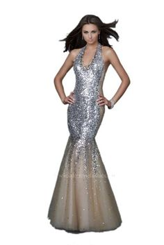 La Femme Mermaid Style Sequined Dress