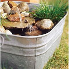 Cool metal pale water feature