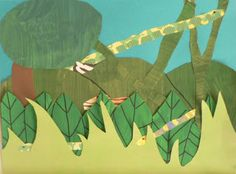 """Schooling At Home Happenings: Henri Rousseau  4th grade art response """"layered rainforest""""...see post to see preschool-grade four responses.  This was such a fun activity for the kids!"""