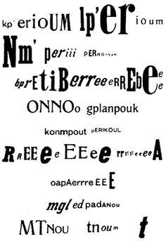 The typeset transcription of Raoul Hausmann's sound poem Kp' erioum Dadaism Art, Photomontage, Transcription, Club Dada, Dada Art Movement, Raoul Hausmann, Berlin Club, Hans Richter, Editorial Design