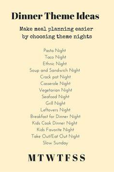 Dinner Theme Ideas: make dinner planning easier and more fun by designating theme nights!