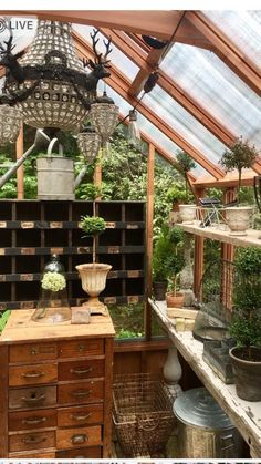 "Greenhouse Plans 640074165771107940 - Greenhouse ""she-shed"" interior -another view Source by"