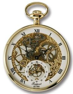 Rapport of London Gold Plated Open Face Pocket Watch with Skeletonized Movement - List price: $750.00 Price: $369.99