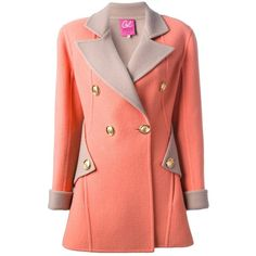 Christian Lacroix Vintage Double-Breasted Coat ($1,051) ❤ liked on Polyvore featuring outerwear, coats, jackets, coats & jackets, casacos, flared coats, flared wool coat, long sleeve coat, red wool coat and flare wool coat