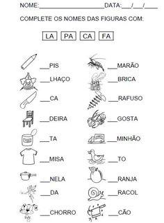 14 Atividades com Sílaba Inicial para Imprimir - Online Cursos Gratuitos Portuguese Lessons, Learn Portuguese, Worksheets For Kids, Learning Centers, First Grade, Art School, Professor, Homeschool, Teaching