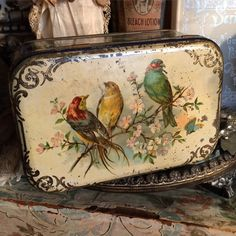 This Antique Tin With Song Birds Has A Wonderful Charm