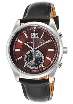 fc0bea03d66 Men s Aiden Chronograph Black Genuine Leather Brown Dial Timex Watches