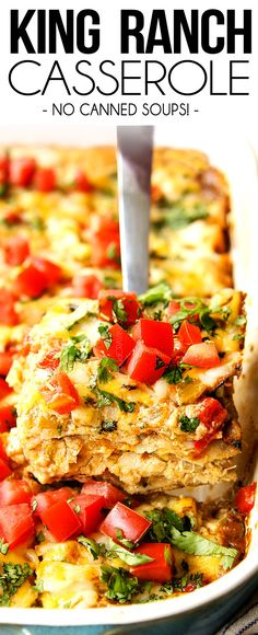 This King Ranch Casserole is the BEST ever without any canned soups! Just layers of juicy chicken and tortillas in the most flavorful rich, creamy cheese sauce with tomatoes, bell peppers and green chiles. #tortillas #chickenrecipes #chicken #chickenbreasts #Mexicanfood #Mexicanrecipes #casseroles #casserolerecipes #dinner #dinnerrecipes #dinnerideas #recipes #easyrecipe #recipes #recipeoftheday #recipeideas #recipe #chickencasserolerecipes #chickencasserolerecipe via @carlsbadcraving One Pot Meals, Easy Meals, King Ranch Chicken Casserole, Chicken Recipes, Chicken Soups, Soup Recipes, Easy Recipes, Vegan Recipes, Carlsbad Cravings