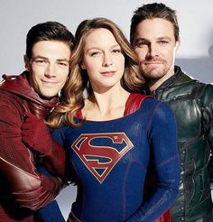 Stephen Amell, Grant Gustin and Melissa Benoist #Arrow #TheFlash #Supergirl