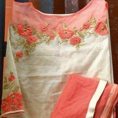 Different types of stylish kurti neck designs - ArtsyCraftsyDad Embroidery Suits Punjabi, Embroidery On Kurtis, Hand Embroidery Dress, Kurti Embroidery Design, Embroidery Neck Designs, Embroidery Fashion, Beaded Embroidery, Embroidery Stitches, Embroidery Patterns