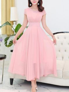 Berrylook Round Neck Plain Chiffon Maxi Dress Clothes Shopping Near Me, Online Shop, Empire Maxi Dresses, Wedding Guest Dresses, Graduation Dress Modest Dresses, Pretty Dresses, Awesome Dresses, Dresses Dresses, Cheap Dresses, Summer Dresses, Chiffon Maxi Dress, Dress Skirt, Prom Dress