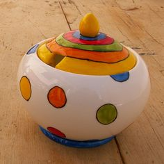 HALF PRICE Bright spots Hand Painted Sugar Bowl by scattyartist, $14.00