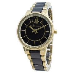 Features:  Stainless Steel Case Stainless Steel Bracelet Quartz Movement Mineral Crystal Black Dial Analog Display Diamond Accents Pull/Push Crown Solid Case Back Jewelry Clasp 30M Water Resistance  Approximate Case Diameter: 32mm Approximate Case Thickness: 9mm