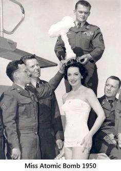 STRANGE OLDE MILITARY FUN - 1950 MISS ATOMIC BOMB CONTESTANT WINNER!