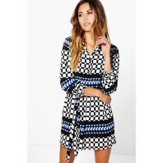 Boohoo Jennie Grid Geo Print Shirt Dress ($26) ❤ liked on Polyvore featuring dresses, cobalt, white dress, white cami dress, holiday dresses, waist belt and white body con dress